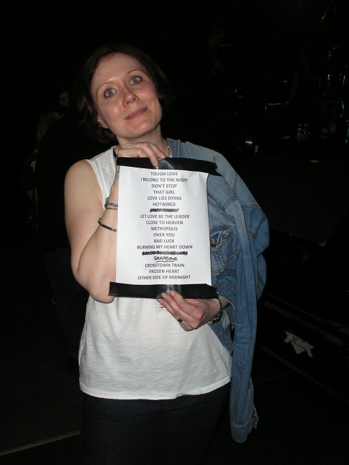 Yay! My very own copy of this show's set list -- this one having been Pete's!!