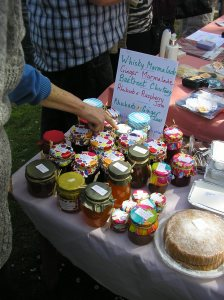 Home made jams and chutneys. (Not by me, you gather) We bought some Whisky Marmalade...yum!