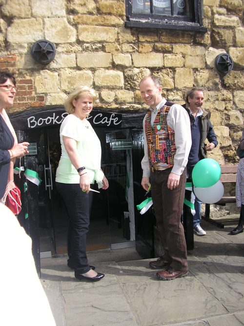 Done! The BookStop Cafe is open. And the sun's come out and the bells are ringing. Amazing!