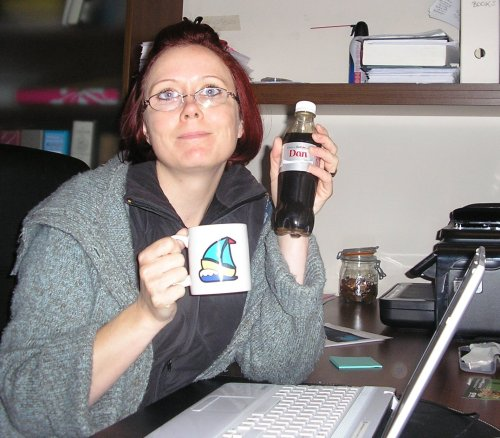 That'll be me with my caffeine props and three layers of clothing as my office has resumed arctic conditions once more. I know. I don't look my best. But hey, it is 1 a.m.!