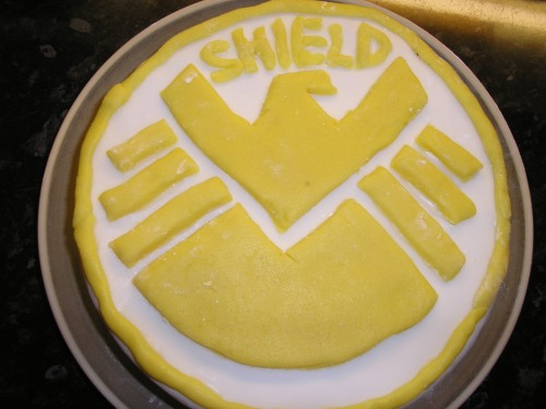 Of course we had a proper birthday cake 'on the day'. S.H.I.E.L.D., as made by birthday boy and dad.