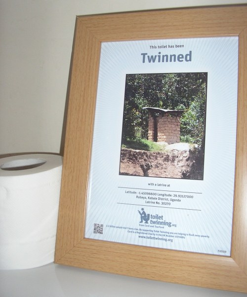 Our humble loo--twinned with a latrine in Uganda!