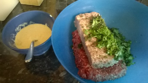 Meat, herbs, and egg mixture...
